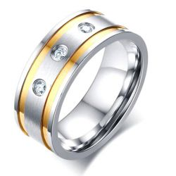 Three Stone Concave-convex Men's Stainless Steel Wedding Band