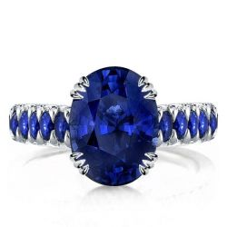 Eternity Triple Prong Created Oval Cut Sapphire Engagement Ring
