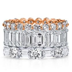 Eternity Triple Row Two Tone Emerald & Round Stackable Band Set