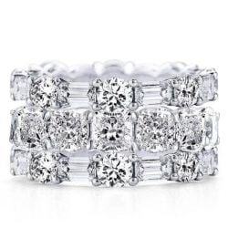 Triple Row Cushion & Round & Baguette Stackable Band Set