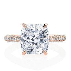 Italo Cushion Rose Gold Created White Sapphire Engagement Ring
