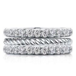 Classic Triple Row Eternity Round Cut Stackable Band Set