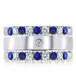 Triple Row Blue & White Round Cut Stackable Band Set