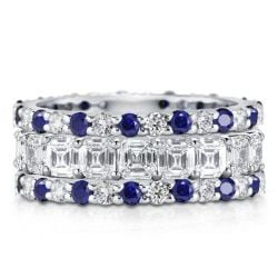 Eternity Triple Row Blue Round & Asscher Cut Stackable Band Set