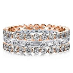 Eternity Triple Row Two Tone Rose Gold Stackable Band Set