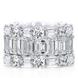 Eternity Triple Row Round & Emerald Cut Stackable Band Set