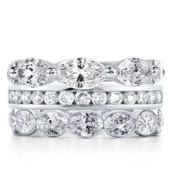Oval Cut Stackable Band Set