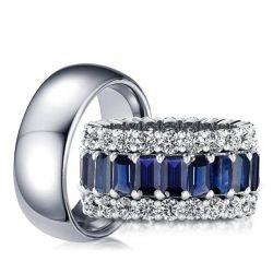 Emerald Cut Couple Rings