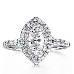Classic Double Halo Marquise & Round Engagement Ring