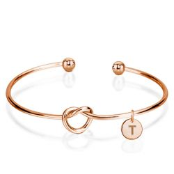Open Twist Bangle Bracelet in 14k Rose Gold Plating
