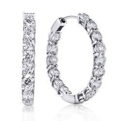 Classic Round Cut Hoop Earrings Women Silver