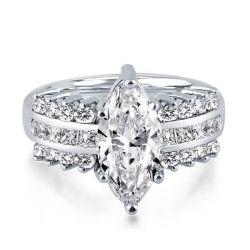 Italo Multiple Sidestone Created White Sapphire Engagement Ring