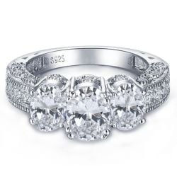3 Stone Engagement Rings With Side Stones Ring