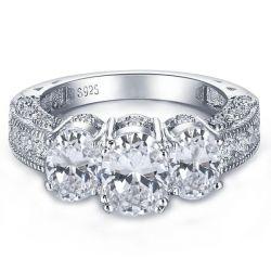 Milgrain Three Stone Engagement Ring