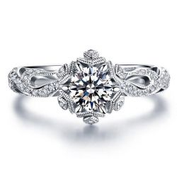 Italo Snowflake & Fire Created White Sapphire Engagement Ring