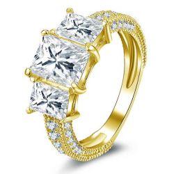 Gold Three Stone Engagement Ring