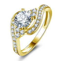 Bypass Cluster Six Stone Yellow Tone Engagement Ring