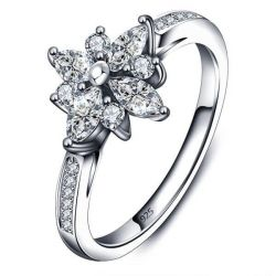 Italo Floral Design Created White Sapphire Engagement Ring