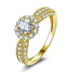 Italo Halo Golden Created White Sapphire Engagement Ring