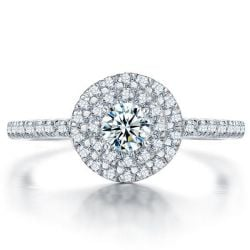 Italo Micro Pave Halo Created White Sapphire Engagement Ring