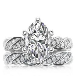 Italo Marquise Rope Design Created White Sapphire Bridal Set