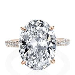 Italo Oval Rose Gold Created White Sapphire Engagement Ring