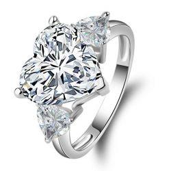 Italo Three Stone Heart Created White Sapphire Engagement Ring