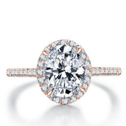 Italo Rose Gold Halo Oval Created White Sapphire Engagement Ring