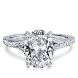 Italo Bypass Oval Created White Sapphire Engagement Ring