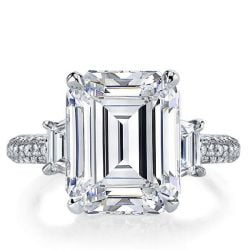 Italo Emerald Three Stone Created White Sapphire Engagement Ring