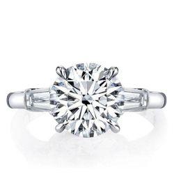 Italo Three Stone Created White Sapphire Engagement Ring