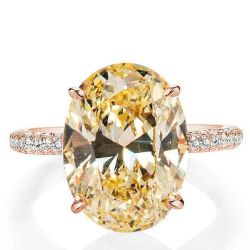 Italo Rose Gold Oval Created Champagne Sapphire Engagement Ring