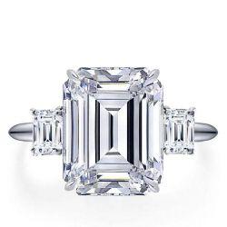 Italo Three Stone Emerald Created White Sapphire Engagement Ring