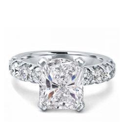 Radiant Half Eternity Engagement Ring