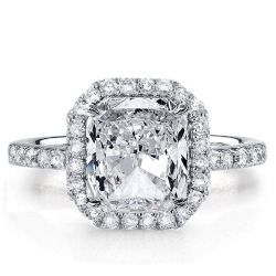 Italo Halo Princess Created White Sapphire Engagement Ring
