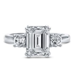 Emerald Three Stone Engagement Ring