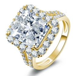 Golden Halo Split Shank Engagement Ring