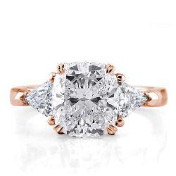 Italo Rose Gold Three Stone Cushion Engagement Ring