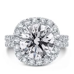Italo Halo Double Prong Created White Sapphire Engagement Ring