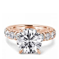Round Cut Rose Gold Engagement Rings