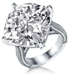 Italo Cushion Created White Sapphire Engagement Ring