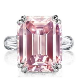 Pink Emerald Cut Ring
