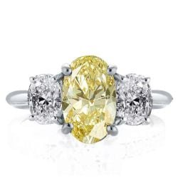 Three Stone Oval Created Topaz Engagement Ring