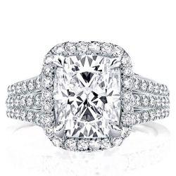 Triple Split Shank Halo Engagement Ring