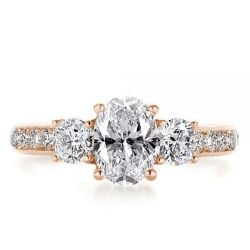 Italo Rose Gold Oval Created White Sapphire Engagement Ring