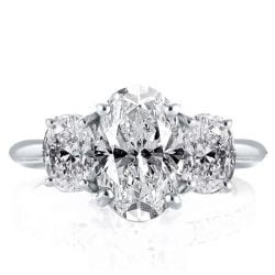 Three Stone Oval Created White Sapphire Engagement Ring