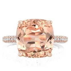 Rose Gold Double Hidden Halo Cushion Champagne Engagement Ring