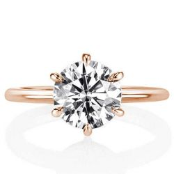 Rose Gold Hidden Halo Six-prong Round Engagement Ring(3.25 CT. TW.)