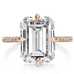 Rose Gold Emerald Cut Engagement Ring