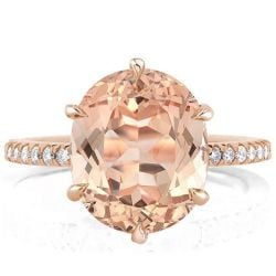 Six Prong Rose Gold Oval Champagne Engagement Ring(3.65 CT.TW)